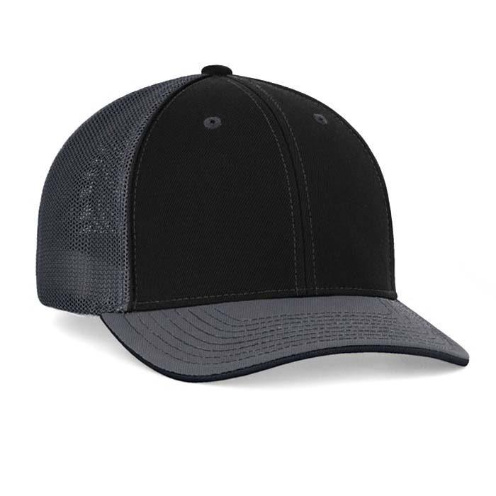 Mesh back trucker cap in black-graphite