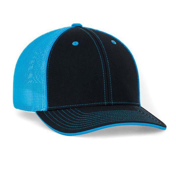 Mesh back trucker cap in black-neon blue