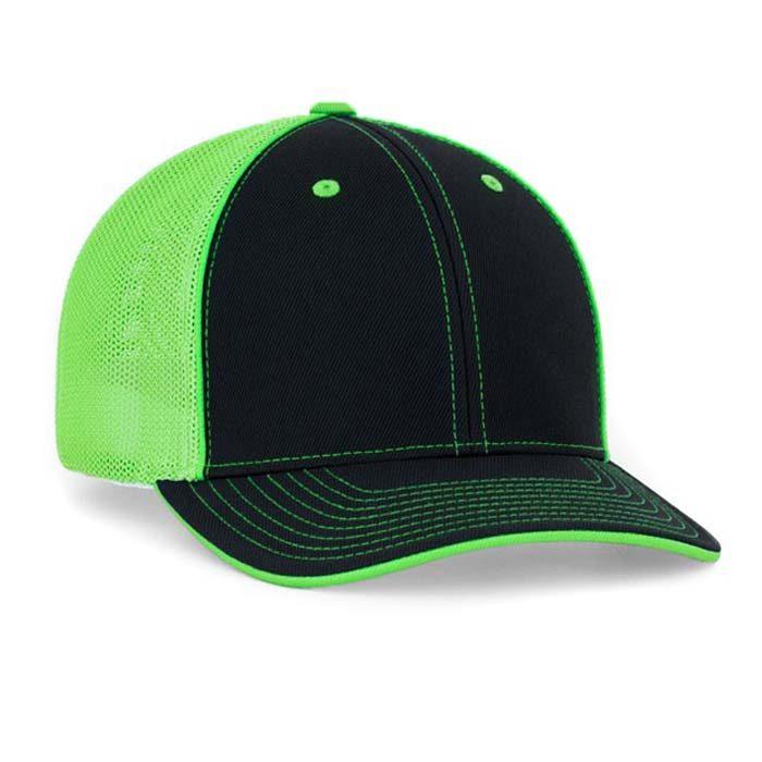 Mesh back trucker cap in black-neon green