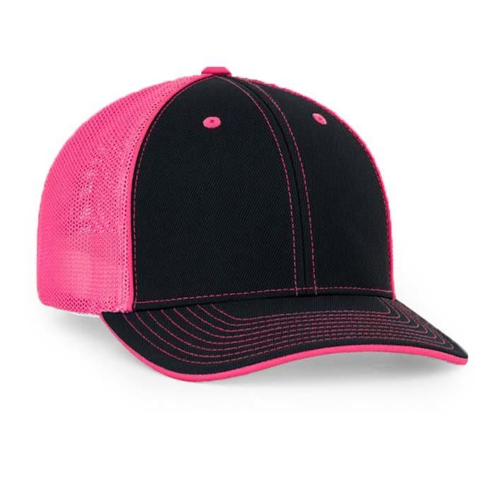 Mesh back trucker cap in black-neon pink