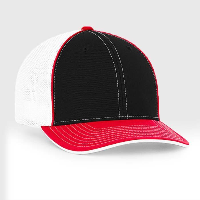 Mesh back trucker cap in black-red