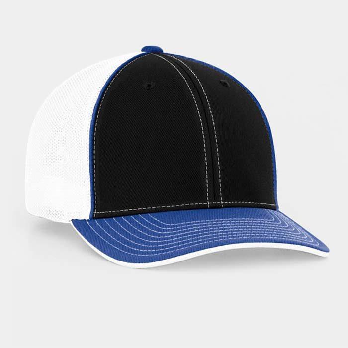 Mesh back trucker cap in black-royal