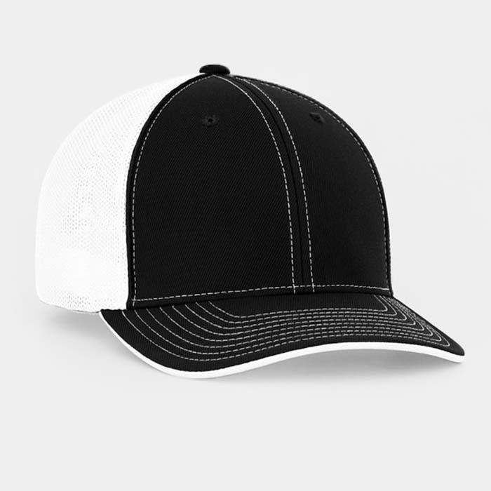 Mesh back trucker cap in black-white