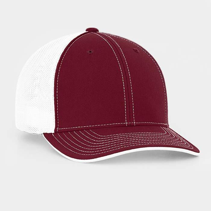 Mesh back trucker cap in cardinal-white