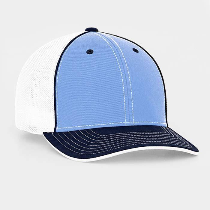 Mesh back trucker cap in columbia blue-navy