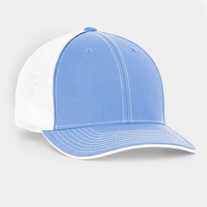 Mesh back trucker cap in columbia blue-white