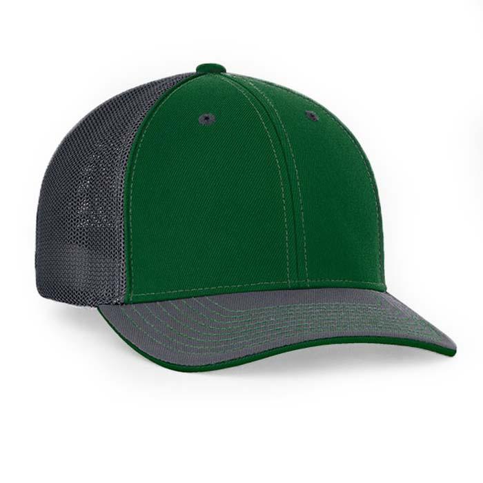 Mesh back trucker cap in dark green-graphite