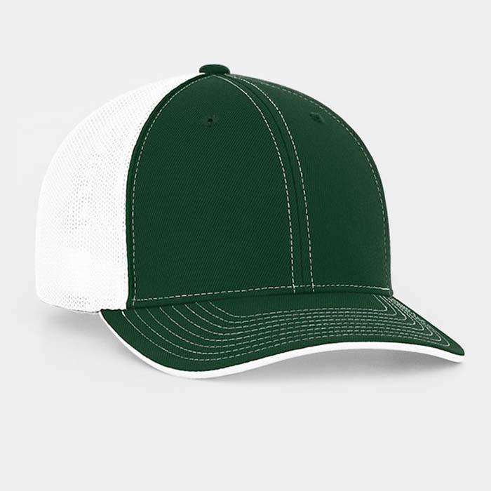 Mesh back trucker cap in dark green-white
