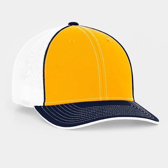 Mesh back trucker cap in gold-navy