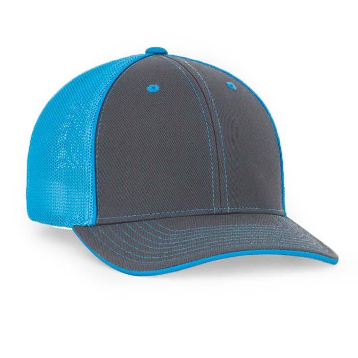 Mesh back trucker cap in graphite-neon blue