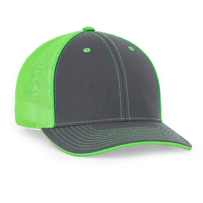 Mesh back trucker cap in graphite-neon green