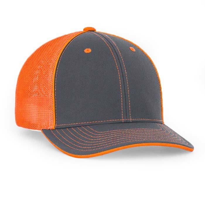 Mesh back trucker cap in graphite-neon orange