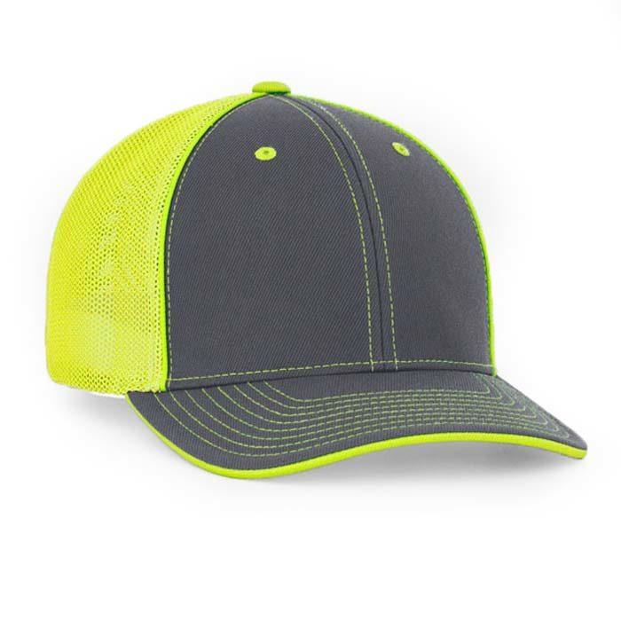 Mesh back trucker cap in graphite-neon yellow