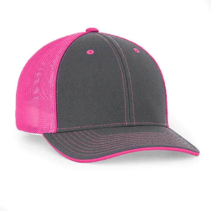 Mesh back trucker cap in graphite-pink