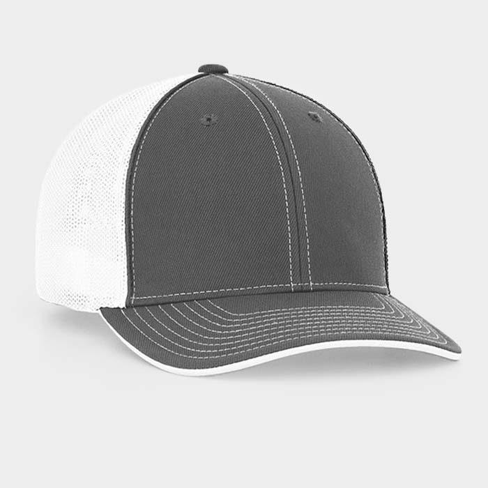 Mesh back trucker cap in graphite-white