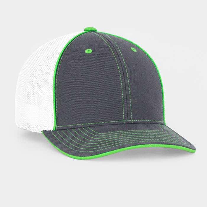 Mesh back trucker cap in graphite-white-neon green
