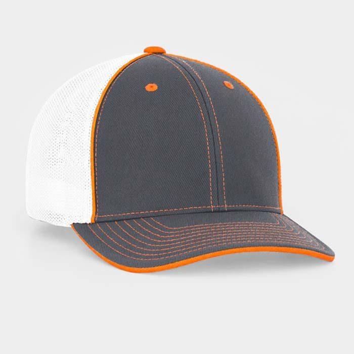 Mesh back trucker cap in graphite-white-neon orange