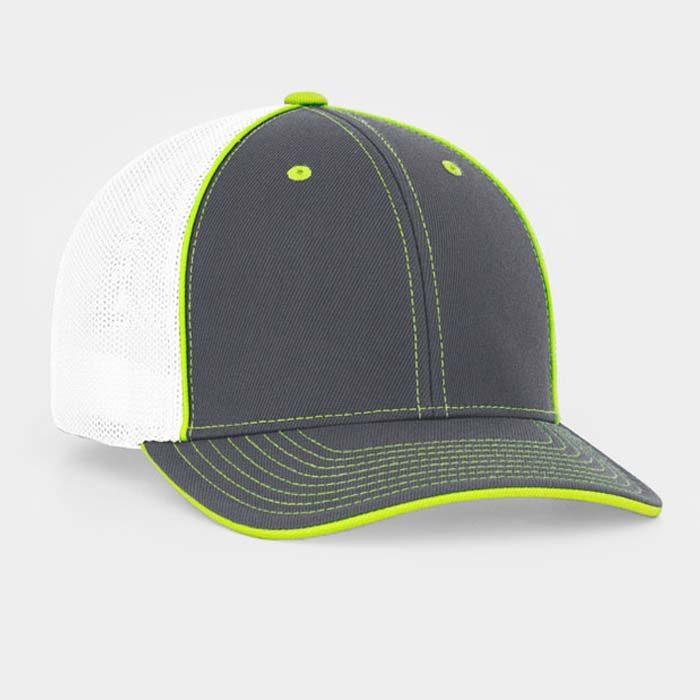 Mesh back trucker cap in graphite-white-neon yellow