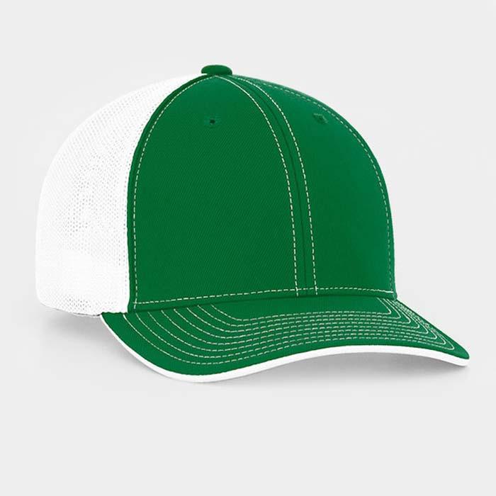 Mesh back trucker cap in kelly-white
