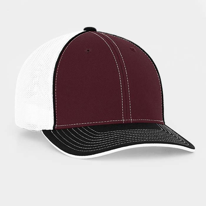 Mesh back trucker cap in maroon-black