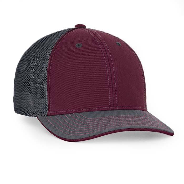 Mesh back trucker cap in maroon-graphite