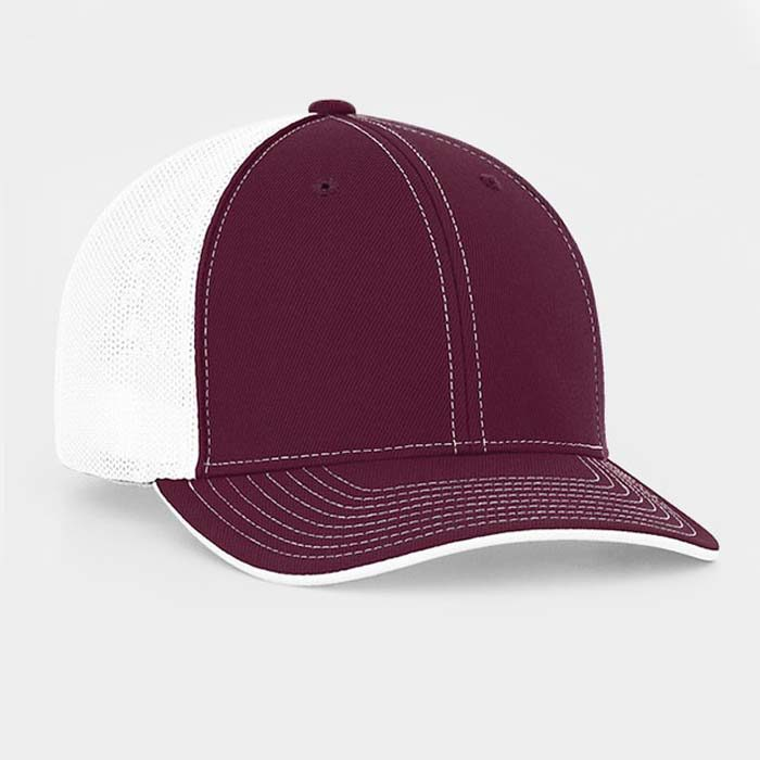 Mesh back trucker cap in maroon-white