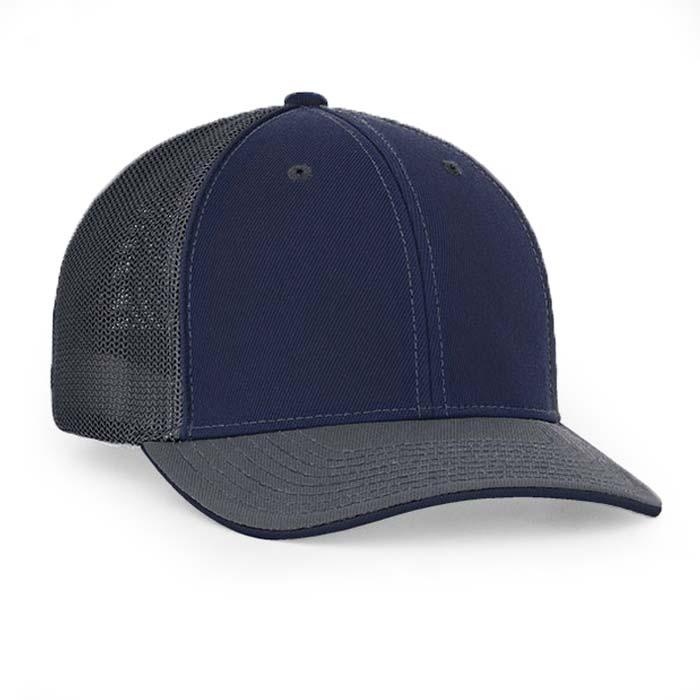 Mesh back trucker cap in navy-graphite
