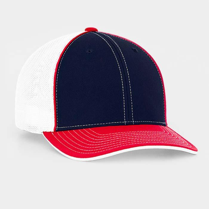 Mesh back trucker cap in navy-red