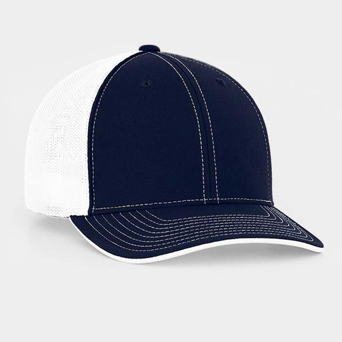 Mesh back trucker cap in navy-white