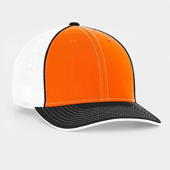 Mesh back trucker cap in white-orange-black