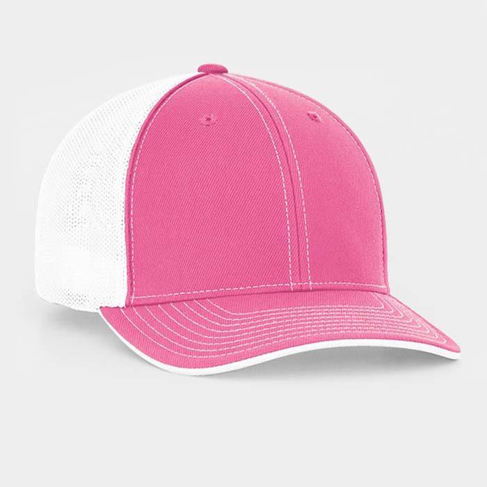 Mesh back trucker cap in pink-white