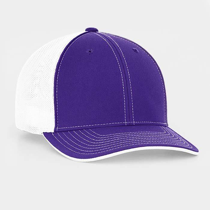 Mesh back trucker cap in purple-white