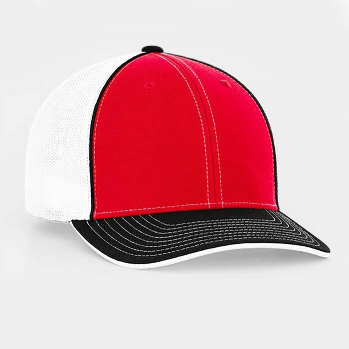 Mesh back trucker cap in white-red-black