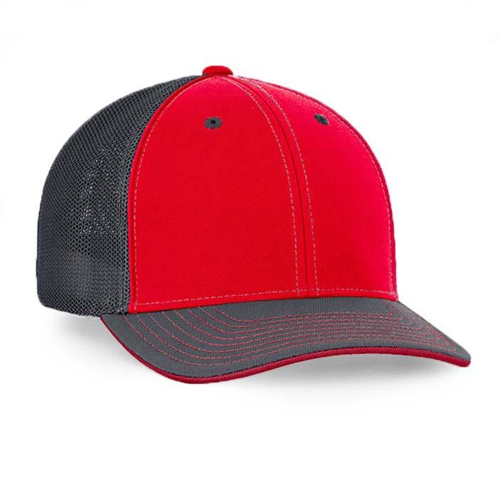 Mesh back trucker cap in red-graphite