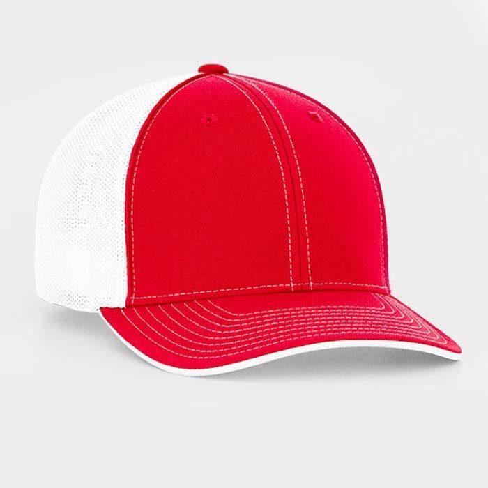Mesh back trucker cap in red-white