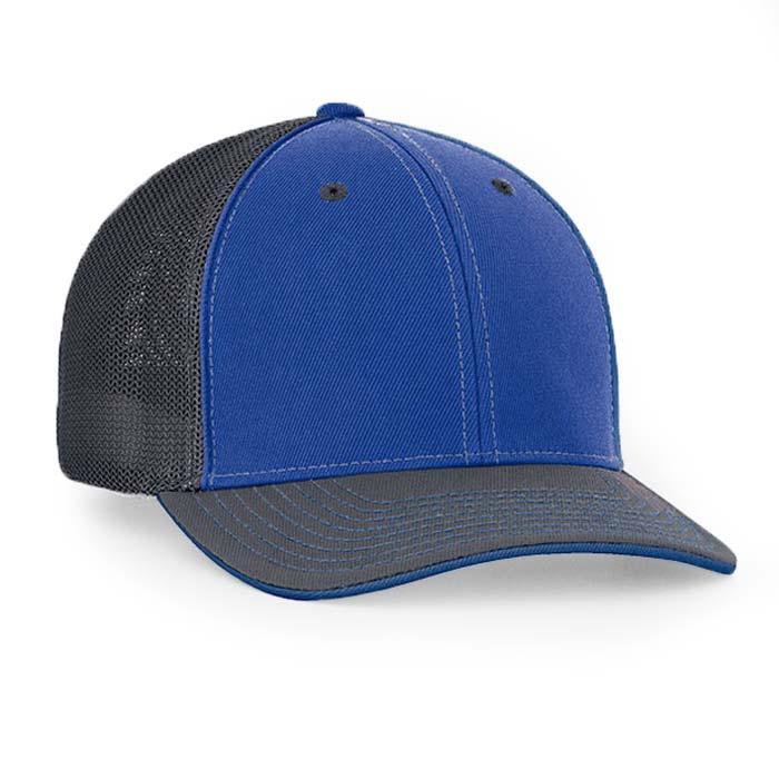 Mesh back trucker cap in royal-graphite