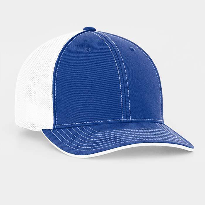Mesh back trucker cap in royal-white