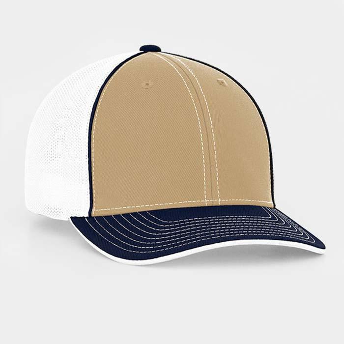 Mesh back trucker cap in white-vegas gold-navy