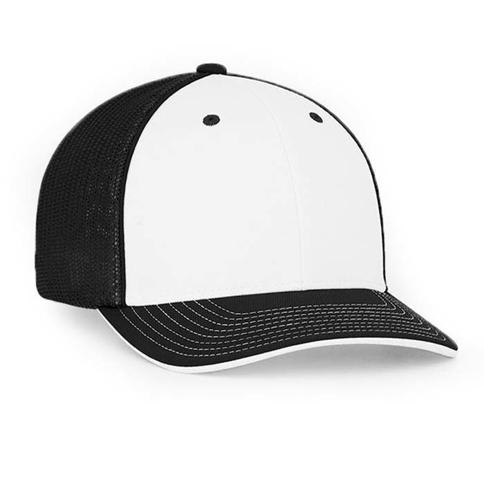 Mesh back trucker cap in white-black