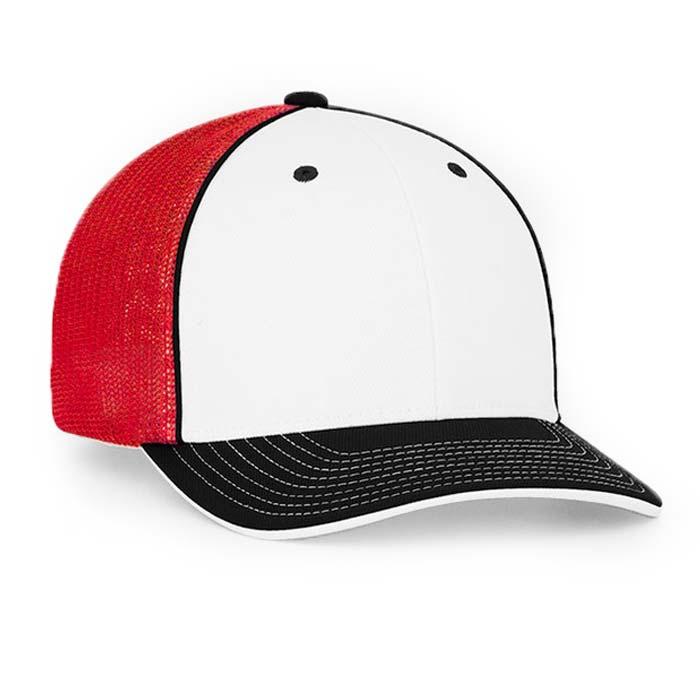 Mesh back trucker cap in white-black-red