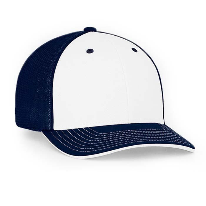 Mesh back trucker cap in white-navy