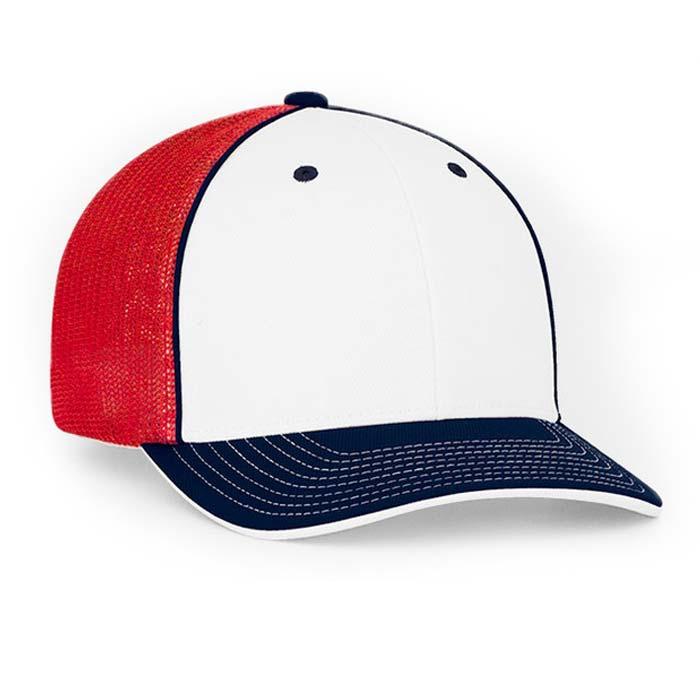 Mesh back trucker cap in white-navy-red