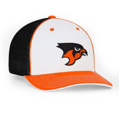Mesh back trucker cap in white-orange-black