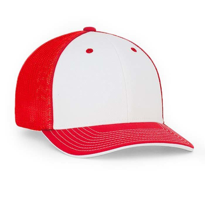 Mesh back trucker cap in white-red