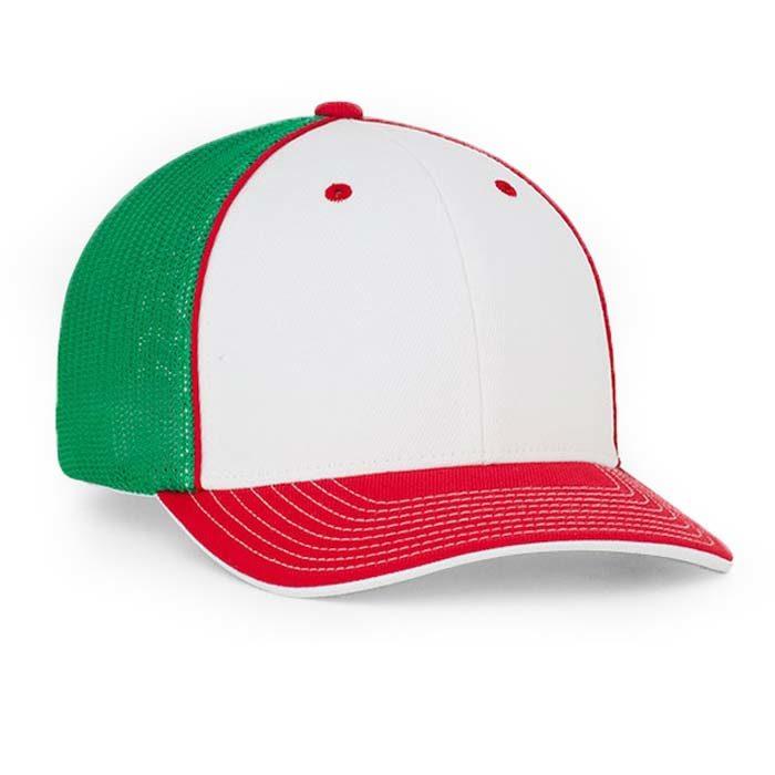 Mesh back trucker cap in white-red-kelly