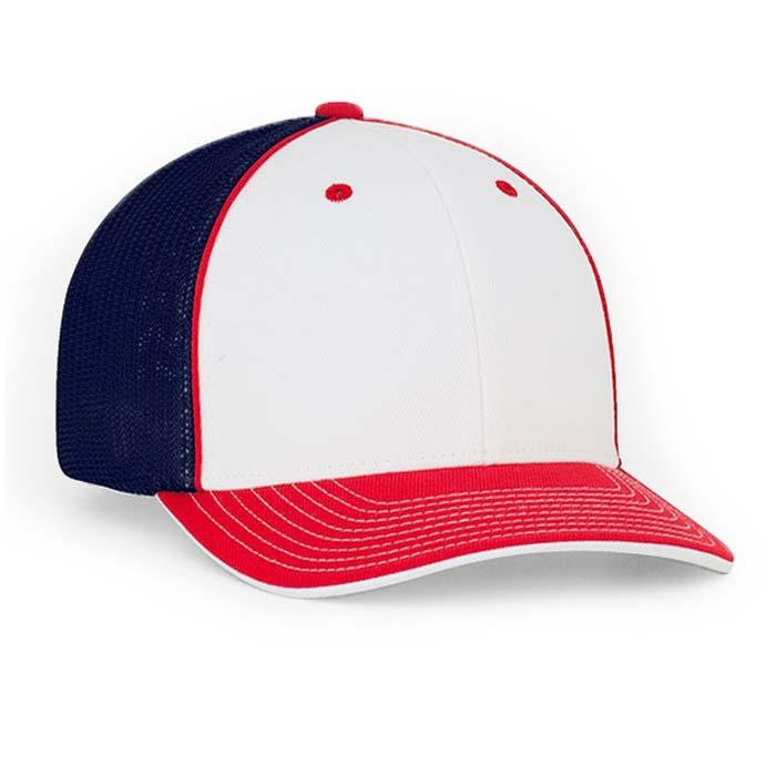 Mesh back trucker cap in white-red-navy