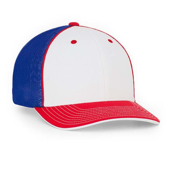 Mesh back trucker cap in white-red-royal