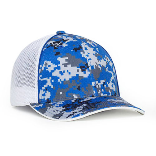 408M digital camo trucker hat in royal blue