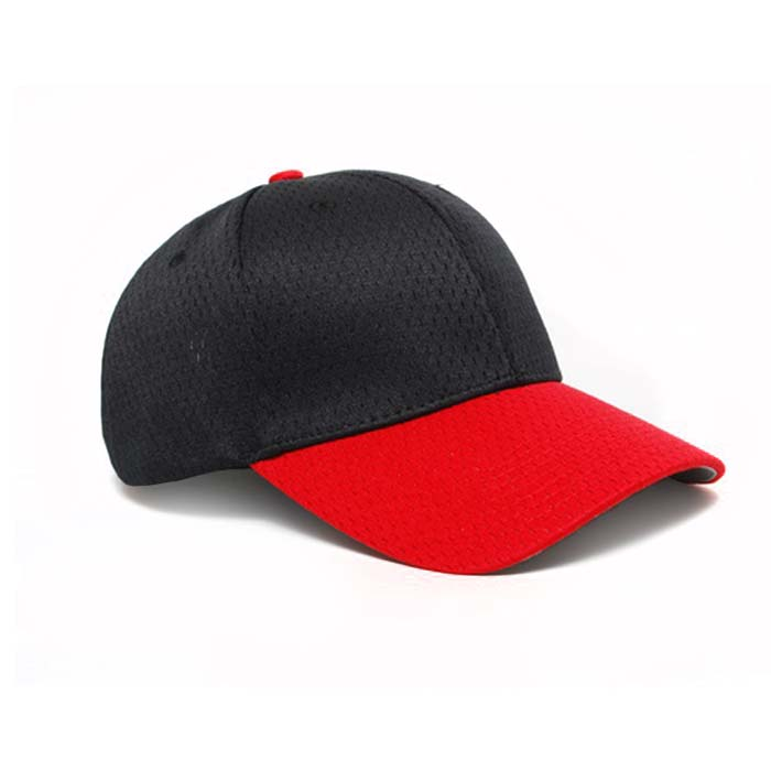 Moisture Management, Adjustable Baseball Cap in Black and Red