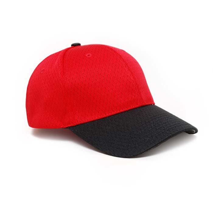 Moisture Management, Adjustable Baseball Cap in Red and Black